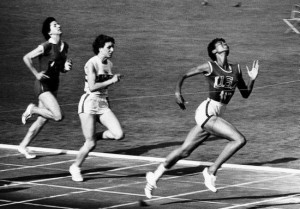 Photo of Wilma Rudolph winning a 200m race