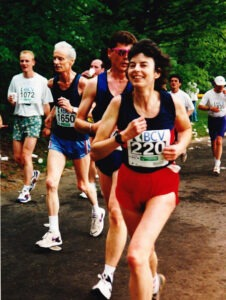 Sandy aged 52 running in a 20km race in Lausanne, Switzerland