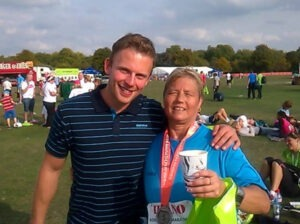 Karen, with her personal trainer Rob Clapham, after the Robin Hood Marathon