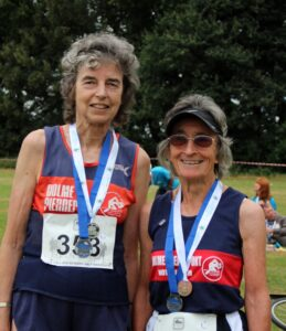 Sandy Poole and Christine Oldfield running after 70