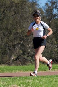 Christine Oldfield running in her seventies Woodbridge Riverside parkrun Western Australia