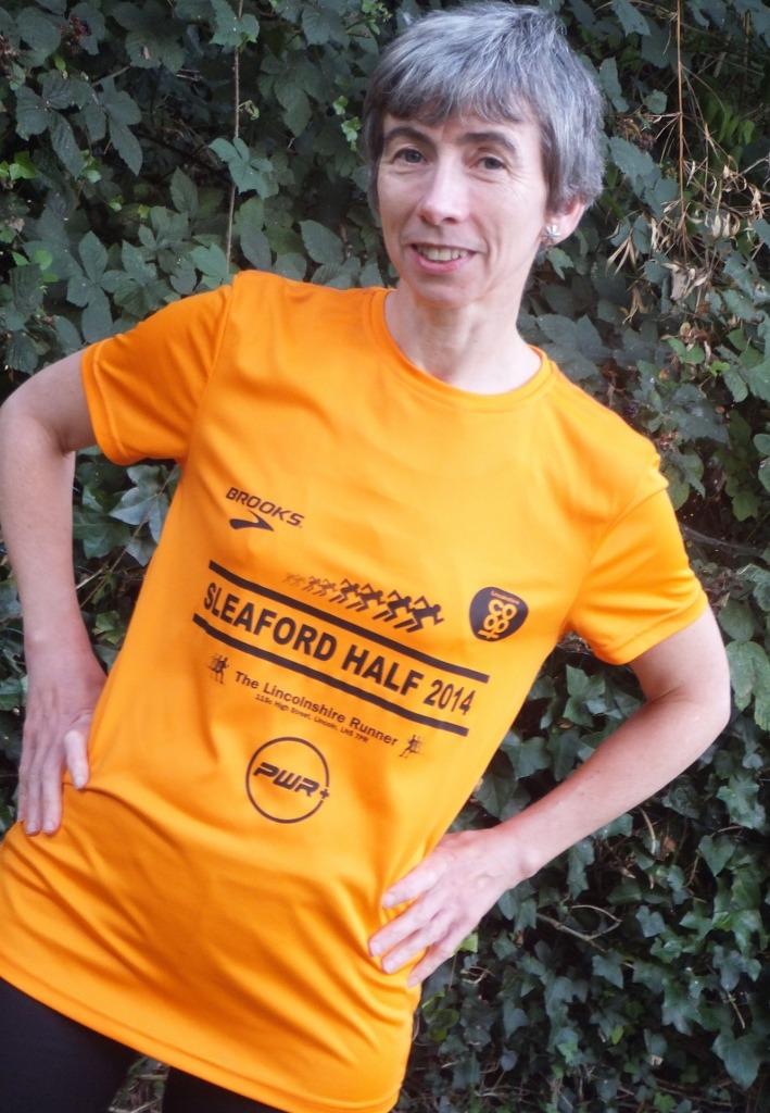 Me wearing Sleaford Half Marathon shirt