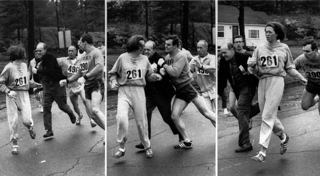 Photos of Race Director pushing Switzer from Boston Marathon 1967