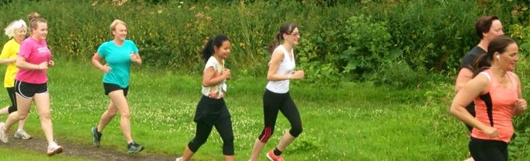 A group of women running at Colwick parkrun