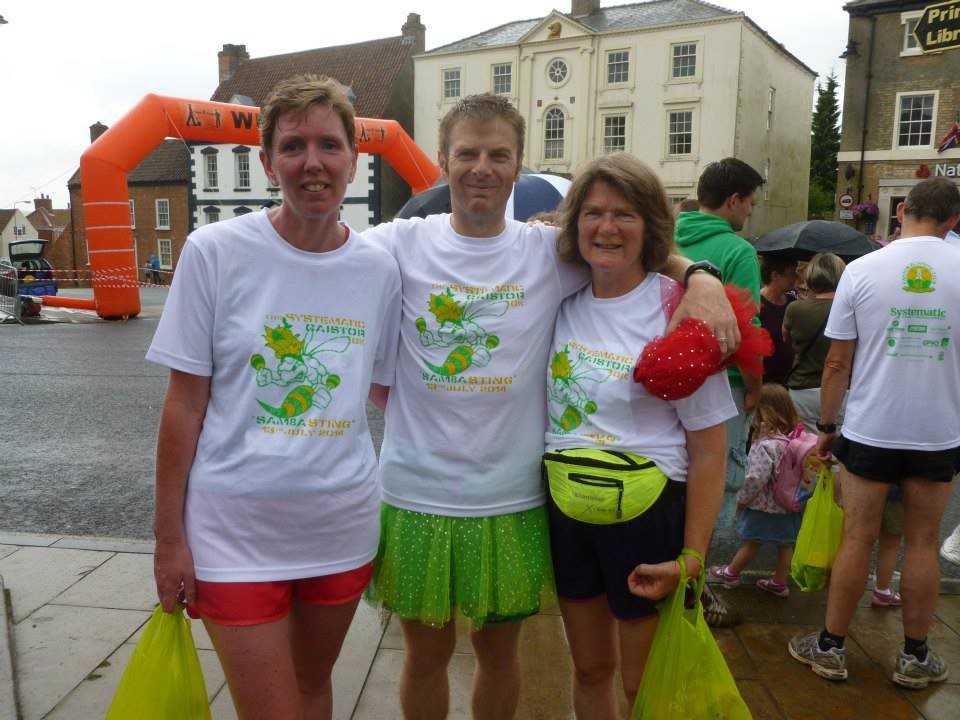 Madeleine with Sarah and Mike at the Caistor 10k