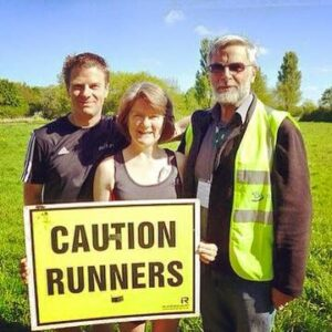 Madeleine at parkrun with Mike & Steve
