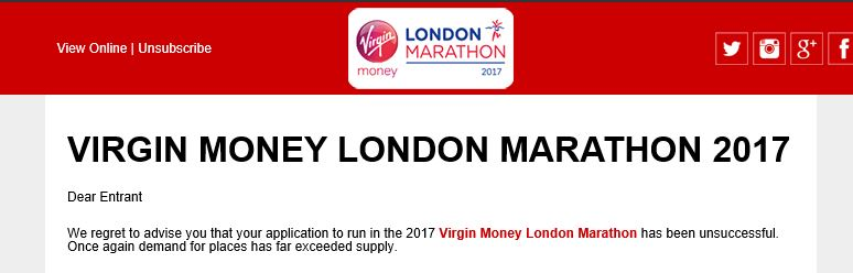 London Marathon 2017 rejection email