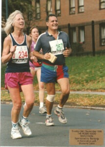 Maddy competing in 1995 Robin Hood Half Marathon