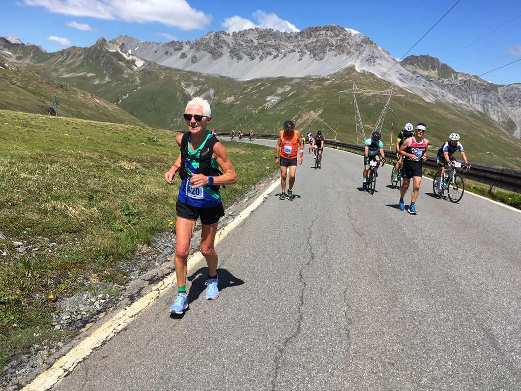 Maddy Collinge competing in the Stelvio Pass Half Maraton in July 2018