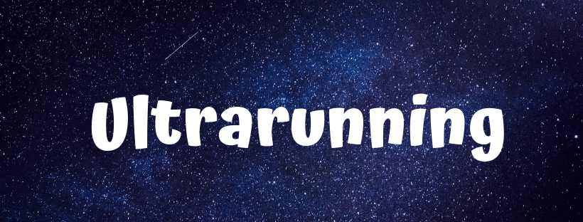 The word ultrarunning on a dark background older women