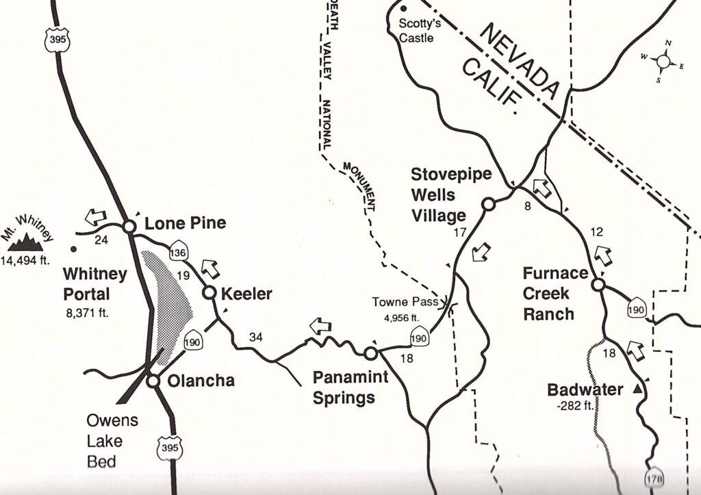 Badwater ultra race course map Richard Benyo