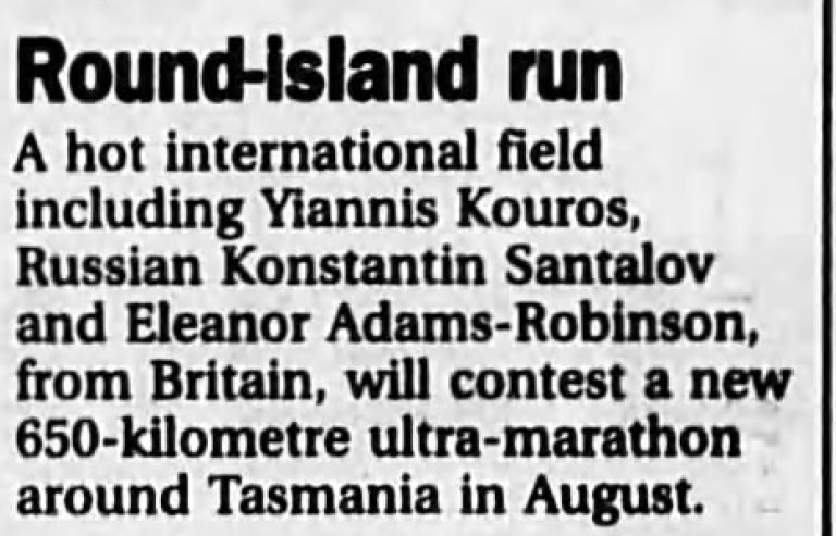 Telecom Tasmania ultra marathon run article in The Age 8th June 1994