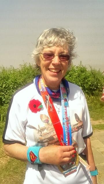Pam Storey after her 200th marathon