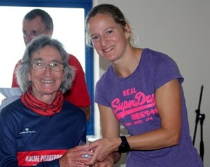 Christine Oldfield receiving her medal at BMAF 10k Championships 2019